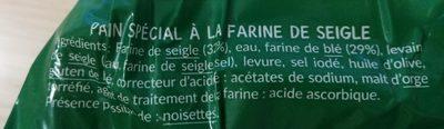 Fines tartines à la farine de seigle - Ingrédients