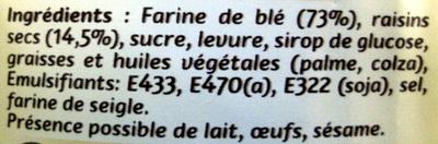 Jacquet le toast raisin - Ingrédients