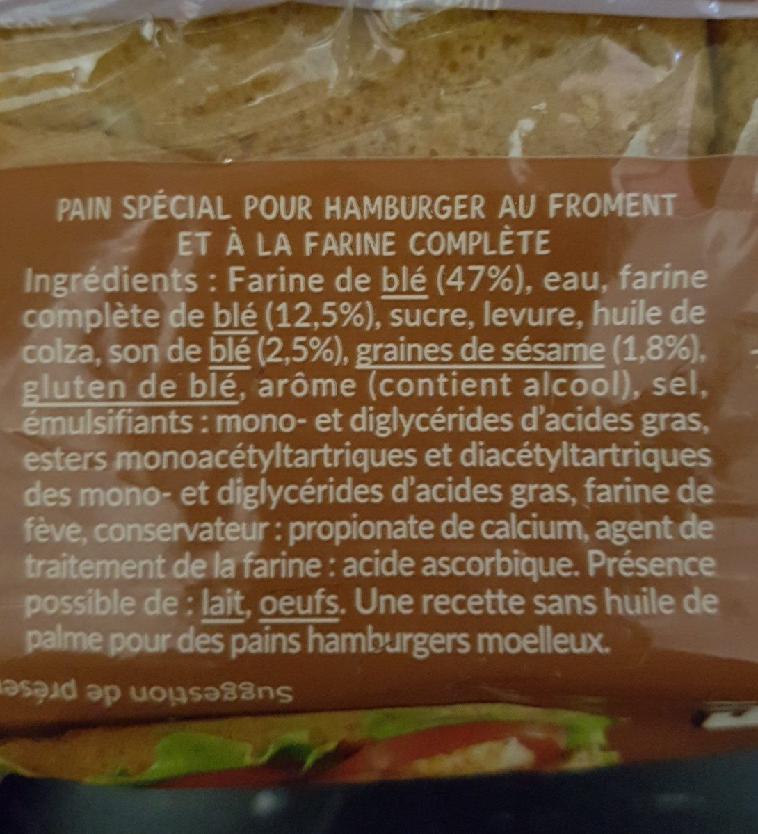 Géant Burger à la farine complète (offre économique) - Ingrédients - fr