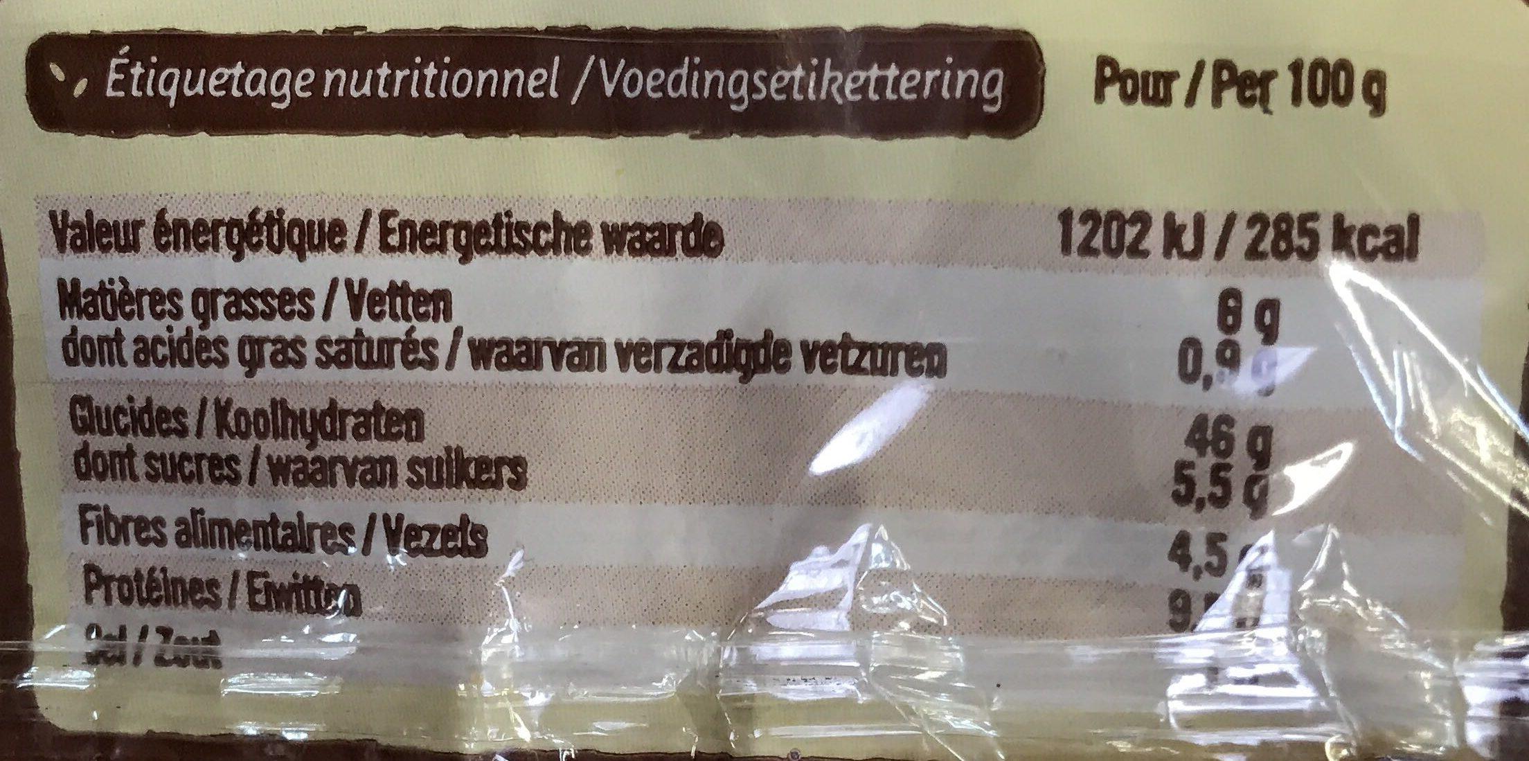 Géant Burger à la farine complète (offre économique) - Informations nutritionnelles - fr