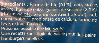 Pain Burger Géant - Ingredients