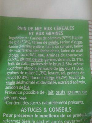 Grandes tranches 11 céréales & graines - Ingrédients