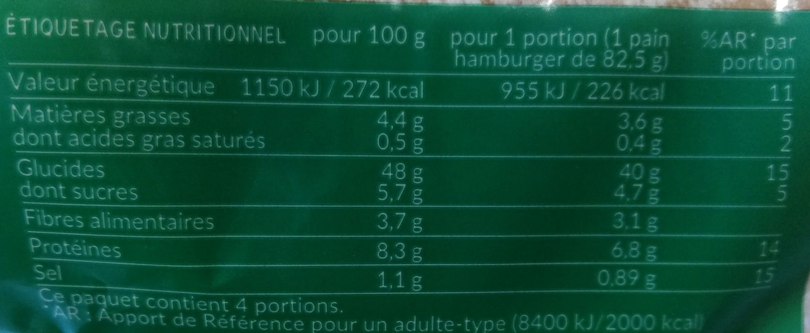 Géant - burger aux 3 graines - Valori nutrizionali - fr