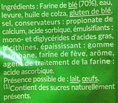 PAIN DE MIE NATURE PETITES TRANCHES SANS CROUTE SSA 475 Gr - Ingrédients - fr