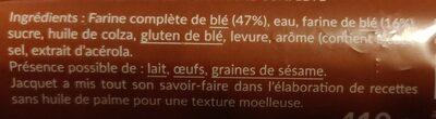 Tartine p'tit dej à la farine complète - Ingredients - fr