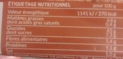 Tartine p'tit dej à la farine complète - Nutrition facts - fr