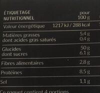 Brasserie burger nature sans sucres ajoutes x4 - Valori nutrizionali - fr