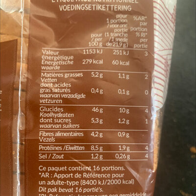 Pain de mie Bio Complet - Valori nutrizionali
