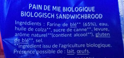 16 tranche nature Bio - Ingredienti - fr
