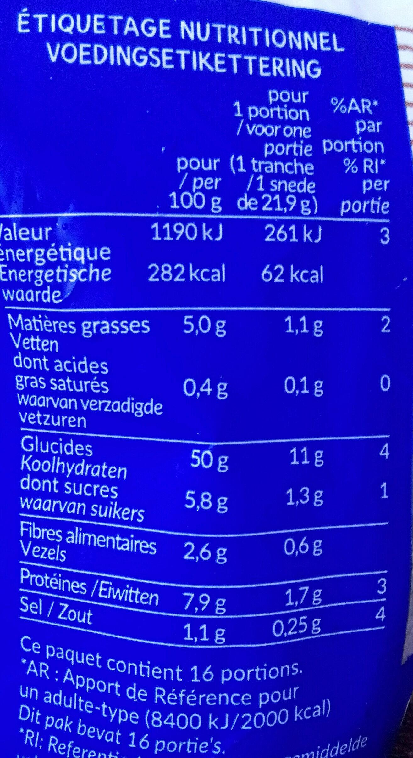 16 tranche nature Bio - Valori nutrizionali - fr
