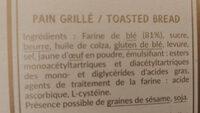 Pain Grille - Celebration 1885 - Ingrédients