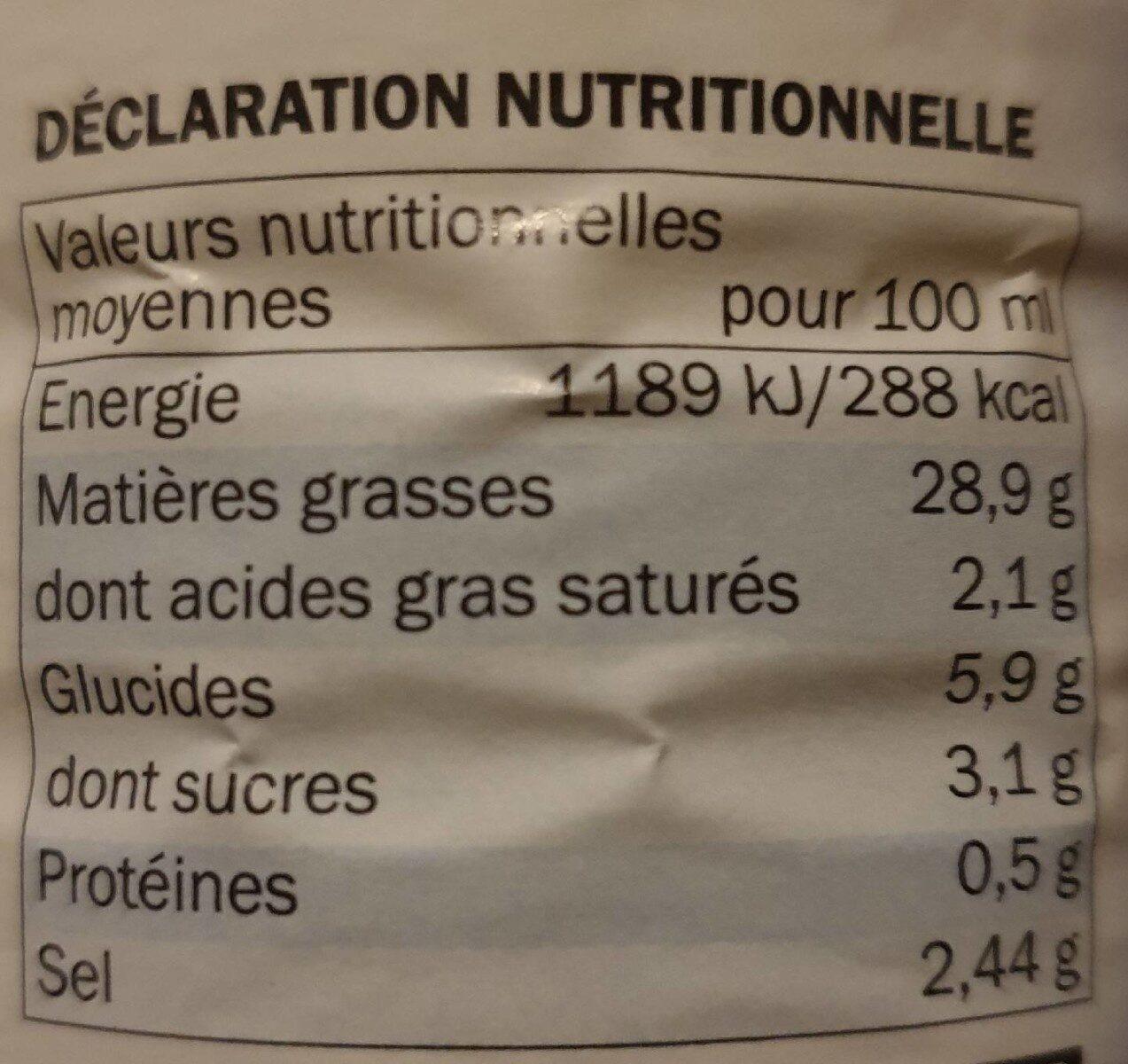 Sauce crudités nature - Nutrition facts - fr