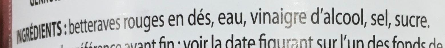 Betteraves rouges en dés assaisonnées - Ingrédients - fr