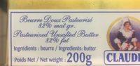 Beurre doux - Ingrédients