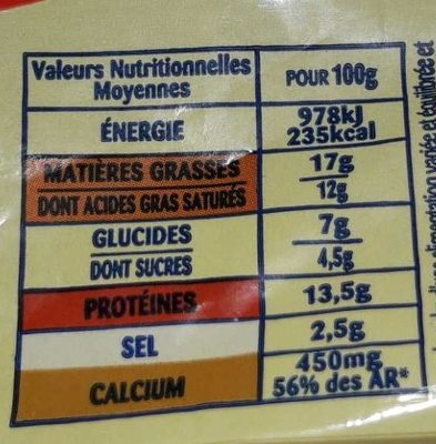 Fromage Croque Monsieur - Informations nutritionnelles