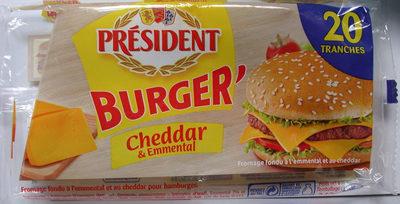 Burger' Cheddar & Emmental 20 Tranches (17 % MG) - Product - fr