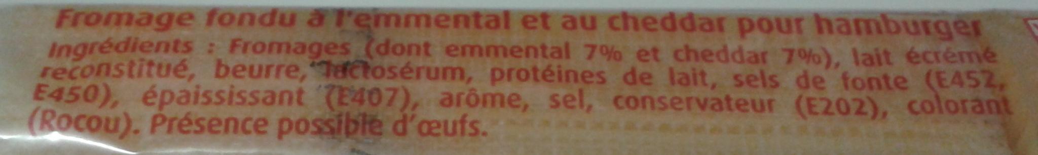 Burger' Cheddar & Emmental 20 Tranches (17 % MG) - Ingrédients - fr