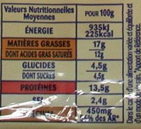 Burger' Cheddar & Emmental 20 Tranches (17 % MG) - Voedingswaarden - fr