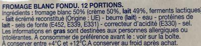 Carré à la Crème - Ingrédients - fr
