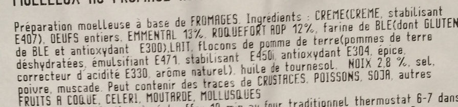Moelleux au Fromage Roquefort AOP et Noix - Ingrediënten - fr