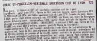 Carré St Marcellin-véritable saucisson cuit de Lyon - Ingrédients - fr