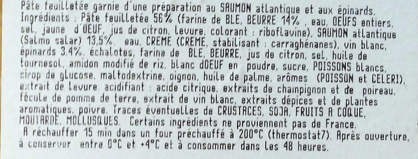 Feuilletés au saumon et aux épinards - Ingredients - fr