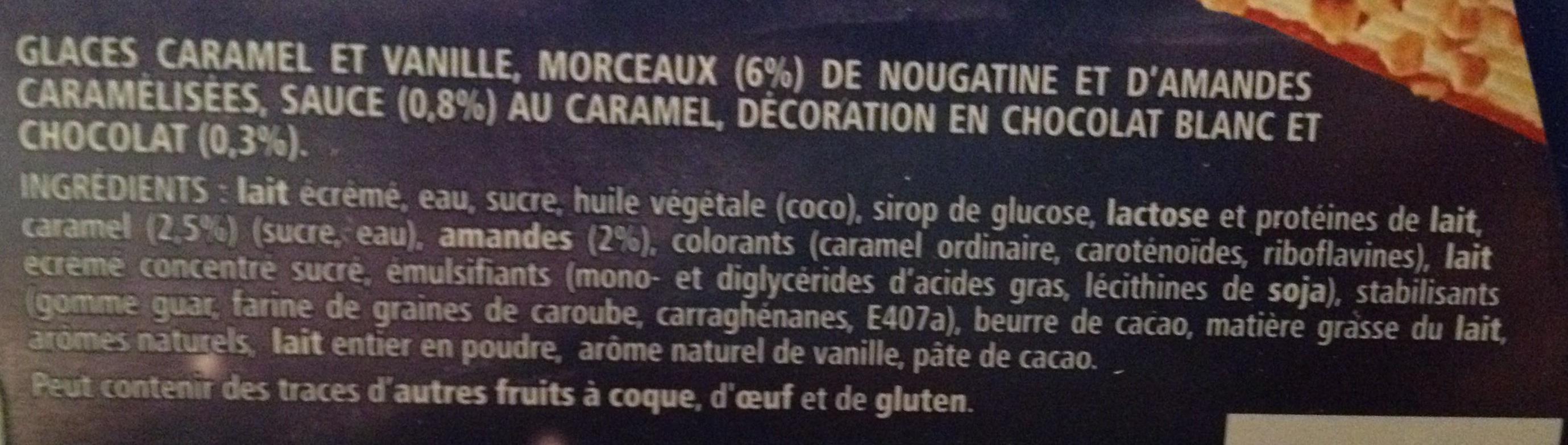 L'amandière, vanille, caramel, éclats d'amandes & de nougatine - Ingrediënten