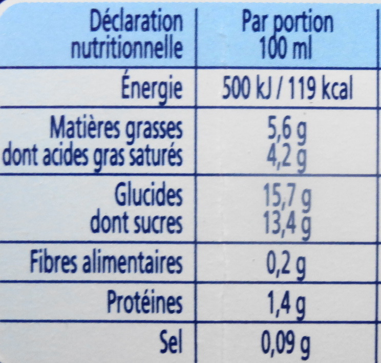 L'amandière, vanille, caramel, éclats d'amandes & de nougatine - Voedingswaarden