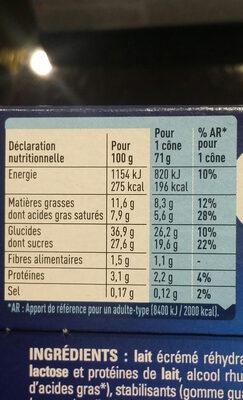 Extrême Rhum Raisin - Nutrition facts - fr