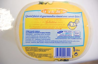 Vanille intense - Informations nutritionnelles