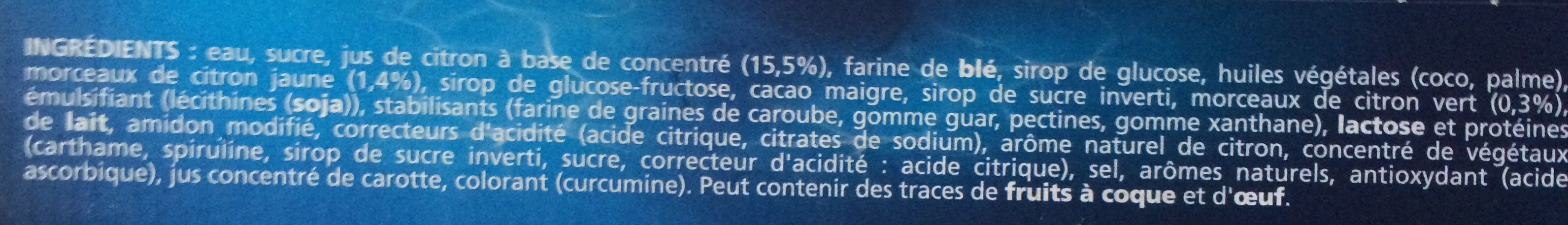 Extrême Sorbet Citron Jaune Zestes de Citron - Ingrédients - fr