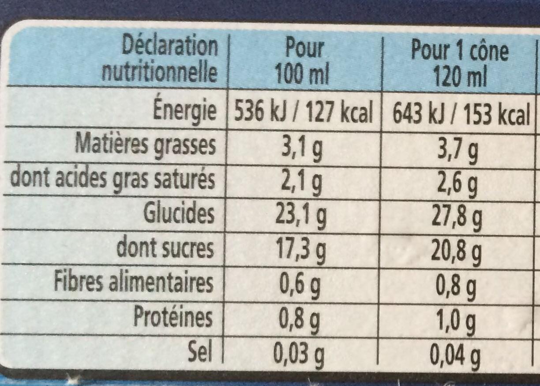 Extrême Sorbet Citron Jaune Zestes de Citron - Informations nutritionnelles - fr