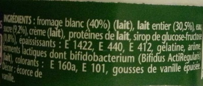 Activia Recette au fromage blanc (2,9 % MG) Saveur Vanille - Ingrediënten - fr