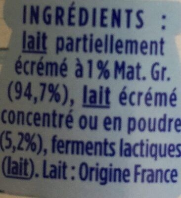 Yaourt nature - Ingredientes - fr