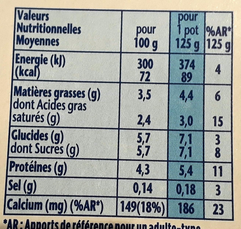 Velouté nature - Nutrition facts
