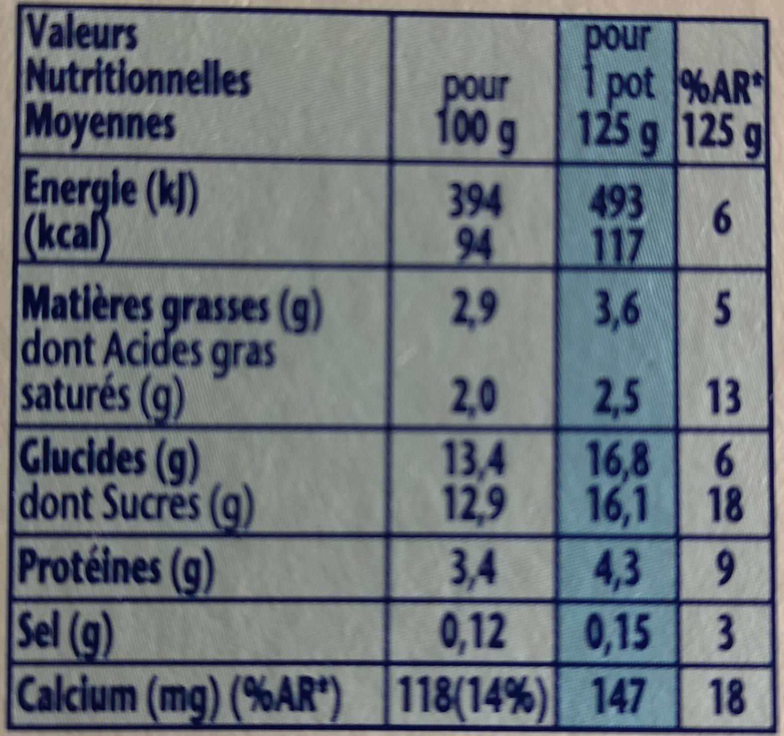 Velouté Fruix Fruits Rouges - Informations nutritionnelles
