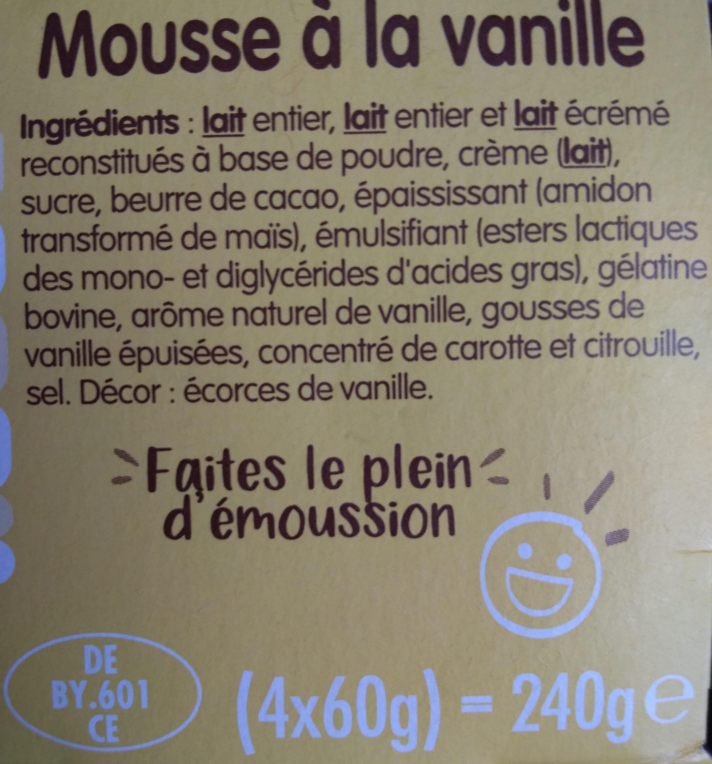 Mousse Vanille - Ingredients