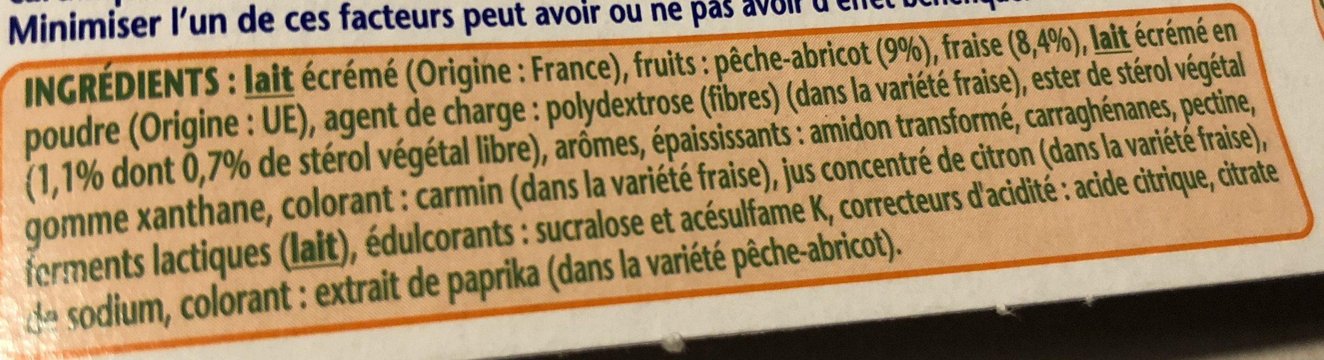 Danacol fraise / peche abricot - Ingrédients - fr