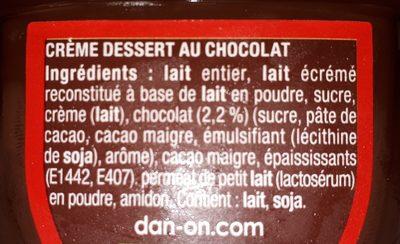 Crème Dessert Danette Danone, Chocolat Prix Choc - Ingrédients - fr