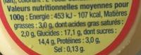 Danette Saveur Vanille - Nutrition facts - fr