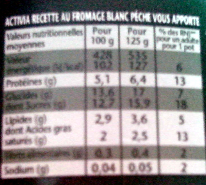 Activia Recette au Fromage Blanc (2,9 % MG) Pêche - Voedingswaarden - fr