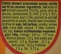 Danette (saveur vanille sur lit au caramel) - Ingrédients - fr
