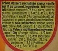 Danette (saveur vanille sur lit au caramel) - Informations nutritionnelles - fr