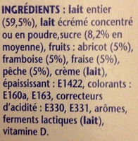 Velouté Fruix (Fraise, Framboise, Pêche, Abricot) Prix Choc - Ingredienti - fr