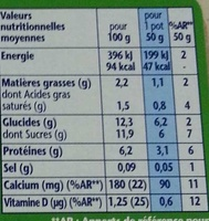Gervais (Saveurs : Fraise, Banane, Pêche, Framboise, Abricot) 18 Pots - Informations nutritionnelles - fr