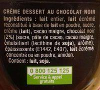 Danette noir extra - Ingrédients - fr