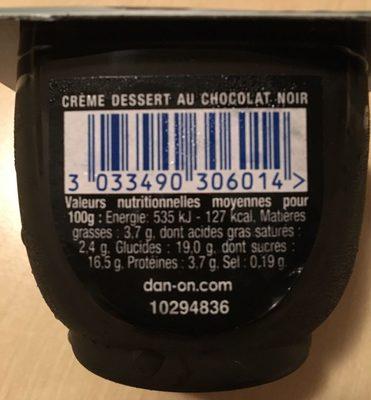 Danette noir extra - Informations nutritionnelles