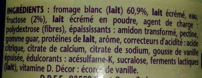 Taille fine recette fromage blanc saveur vanille 0% - Ingrédients - fr