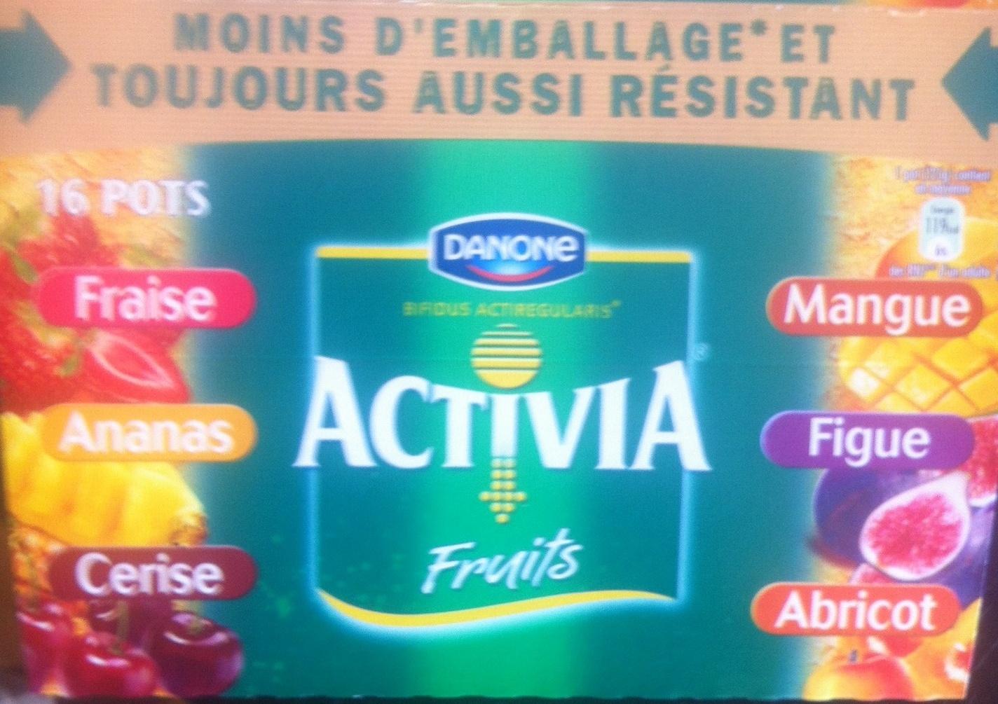 Activia Fruits (Fraise, Ananas, Cerise, Mangue, Figue, Abricot) 16 Pots - Produit - fr