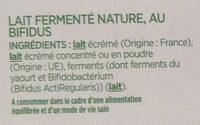 ACTIVIA Nature 0%MG - Ingredients - fr